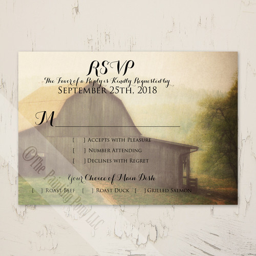 Country Horse Barn Wedding RSVP card (10 pk)