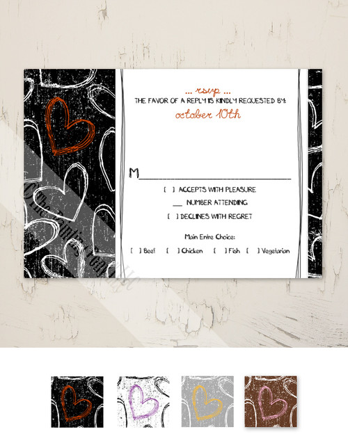 Fun Grunge Hearts Wedding RSVP card (10 pk)