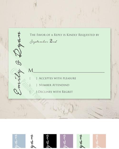 Simple and Elegant Mint Wedding RSVP card (10 pk)