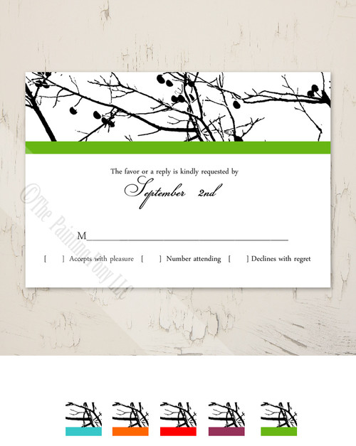 Tree Branches Wedding RSVP card (10 pk)