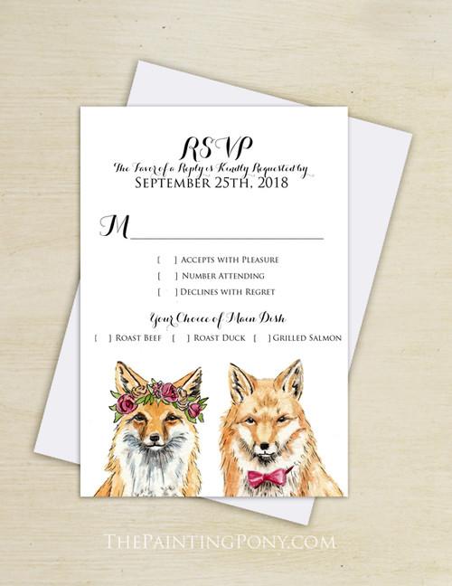 Bohemian Foxes Wedding RSVP card (10 pk)
