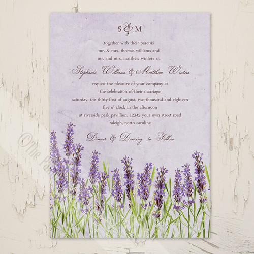 Vintage Lavender Floral Garden Wedding Invitation (10 pk)