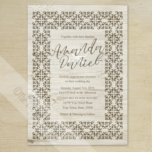 Damask Country Wood Grain Wedding Invitation (10 pk)