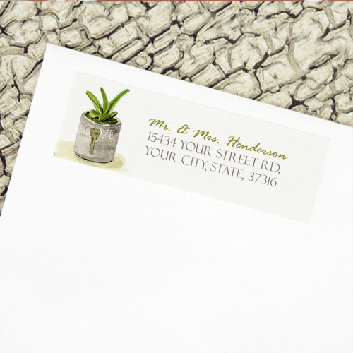 Southwestern Succulent Watercolor Wedding Return Address Labels