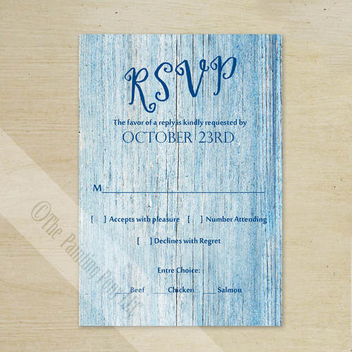 Blue Country Wood Grain Wedding RSVP card (10 pk)