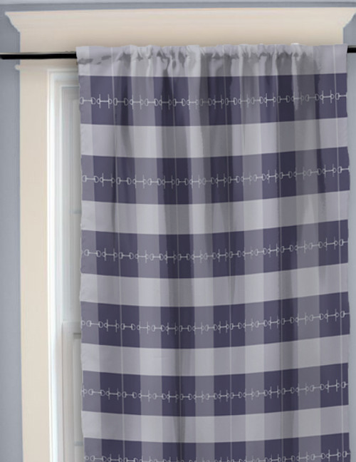 Blue Plaid Horse Bits Pattern Curtains