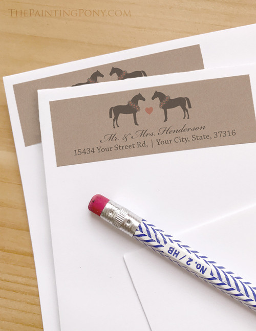Whimsical Heart Horse Wedding Return Address Labels