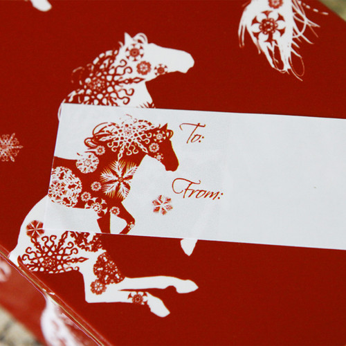 Snowflake Horse Christmas Gift Tag Labels.