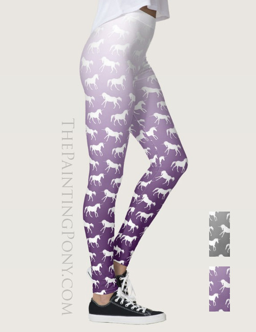 Purple Ombre Unicorn Pattern Equestrian Leggings