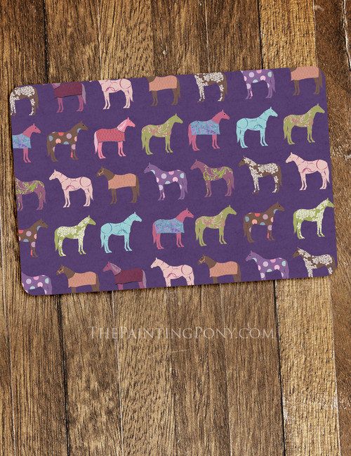 Fun Horse Pattern Equestrian Themed Pet Food Mat