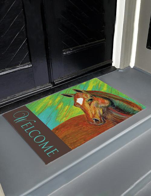 Colorful Chestnut Horse Head Art Equestrian Door Mat