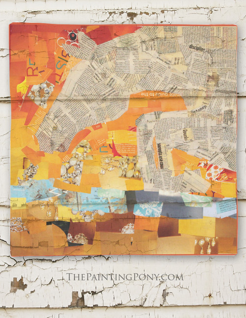Jumping Horse Collage Art Equestrian Square Scarf