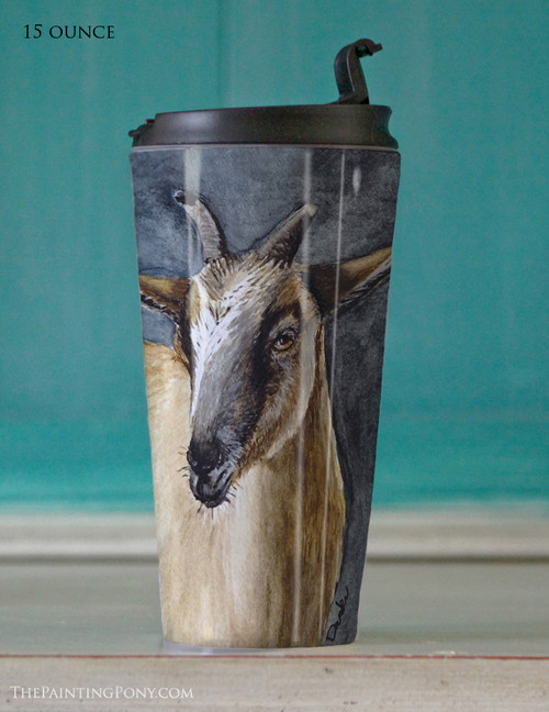 Cute Brown Pygmy Goat Art Travel Tumbler 15oz