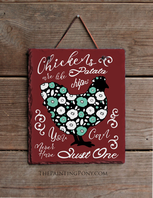 Chicken Lover Farm Style Slate Wall Sign