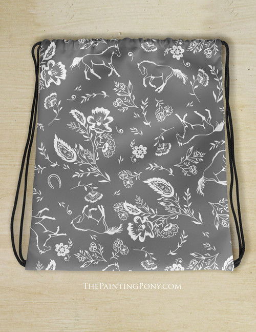Country Floral Horses Pattern Drawstring Gym Tote Bag