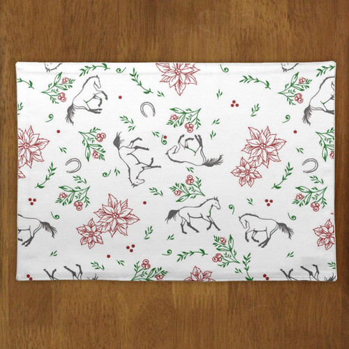 Christmas Poinsettia Floral Galloping Horse Pattern Cloth Placemat
