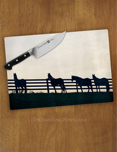 Horses at the Fence Glass Cutting Board