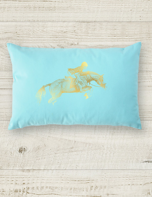 Metallic Foil Printed Hunter Pony Lumbar Pillow