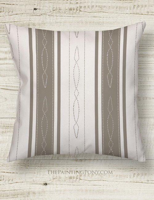 Horse Bridle Pattern Striped Equestrian Throw Pillow