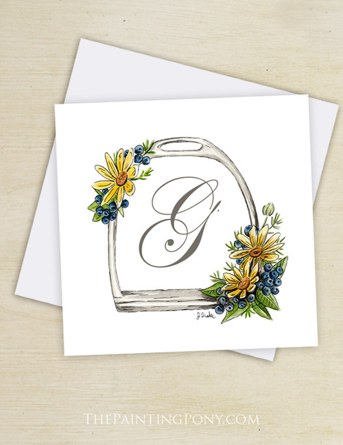 Equestrian stationery greeting note cards blank equestrian monogram horse stirrup blank note cards 10 pk m4hsunfo