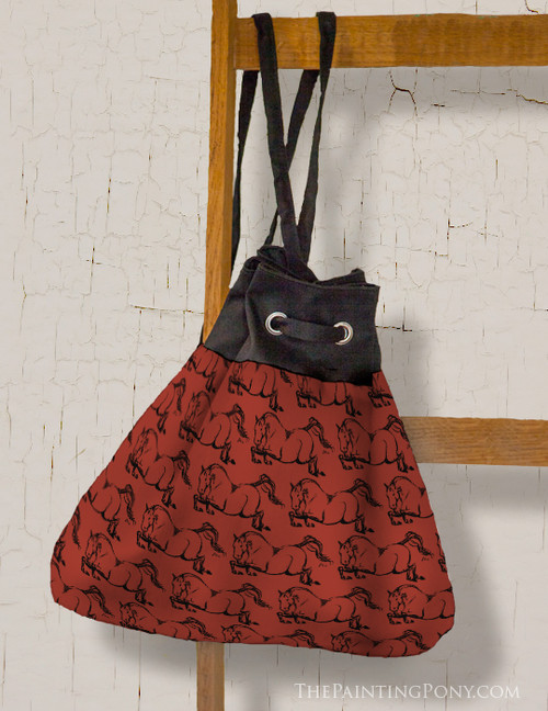 Purple Horses Equestrian Pattern Sling Tote Bag
