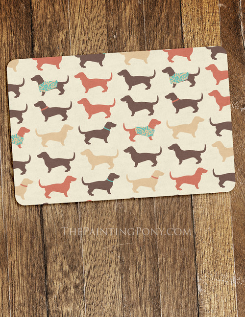 Fun Dachshund Dog Pattern Pet Food Mat