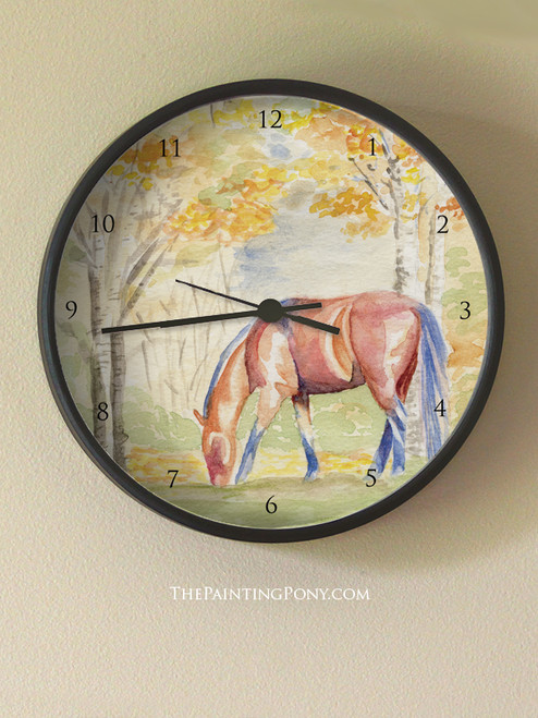 Fall Horse Watercolor Art Equestrian Bloom Wall Clock - The Painting ...