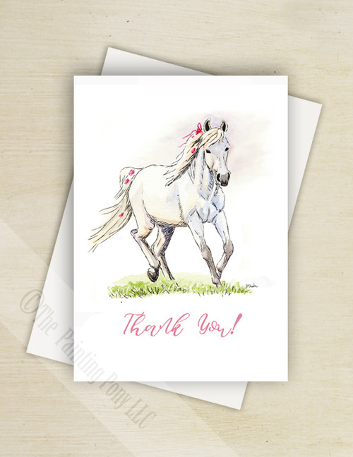 Whimsical White Pony Thank You Note Cards (10 pk)