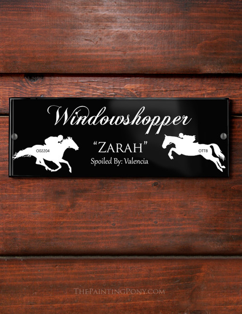 Custom Ex-Race Horse Themed Acrylic Horse Stall Name Plate