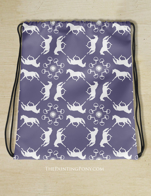 Blue and White Pony Pattern Equestrian Drawstring Gym Tote Bag