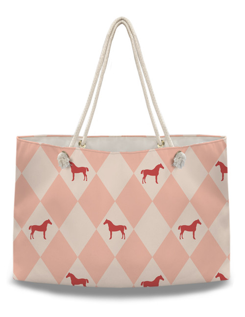 Pink Argyle Horse Pattern Equestrian Weekender Tote Bag