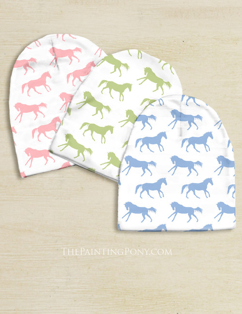 Galloping Horse Pattern Equestrian Baby Beanie Hat
