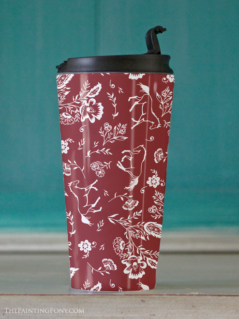 Country Floral Horse Pattern Travel Tumbler