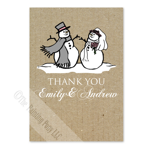 Snowman and Bride Holiday Thank You Cards (10 pk)
