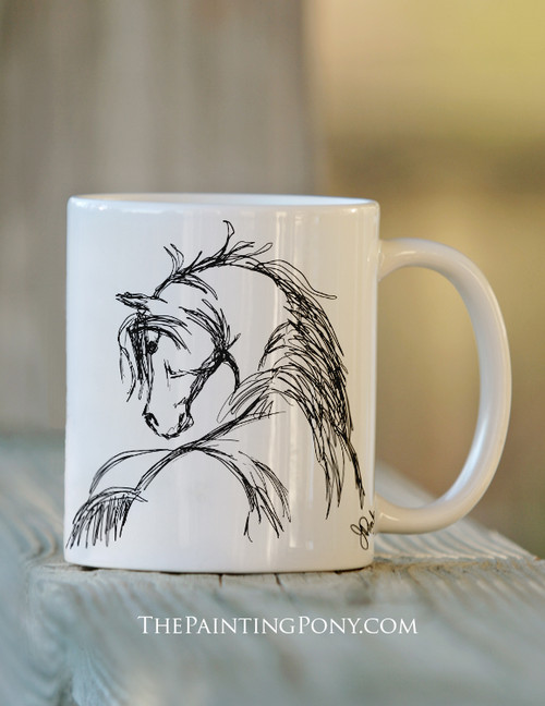 Horse Head Sketch Equestrian Coffee Mug