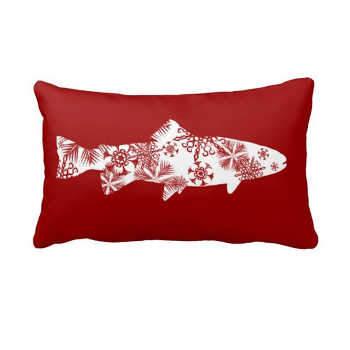 Snowflake Trout Throw Pillow