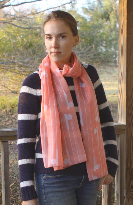 Coral Fly Rods Patterned Chiffon Scarf