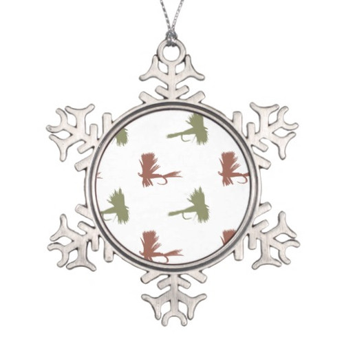 Holiday Fly Lures Pattern Pewter Snowflake Ornament