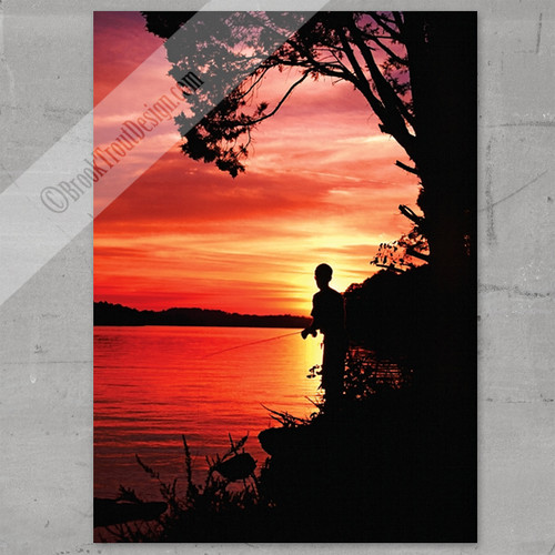 Sunfish Fly Fishing at Sunset Art Print
