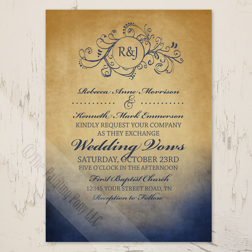 Rustic Navy And Gold Bohemian Wedding Invitation