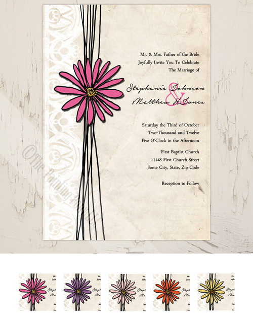 Whimsical vintage hot pink daisy flower garden invitation