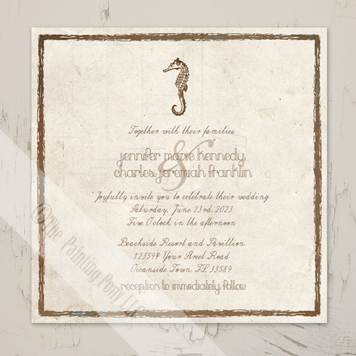 Vintage Brown and Ivory Seahorse Beach Wedding Invitations Stationery