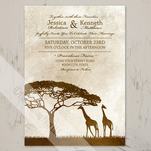African safari Giraffe wedding invitations