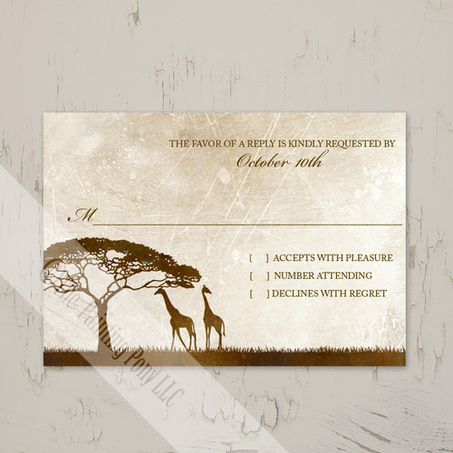 african giraffes zoo wedding response card or rsvp