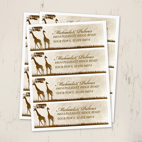 African Giraffes Wedding Return Address Labels