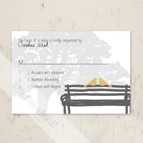 Yellow and Grey Dove Wedding RSVP
