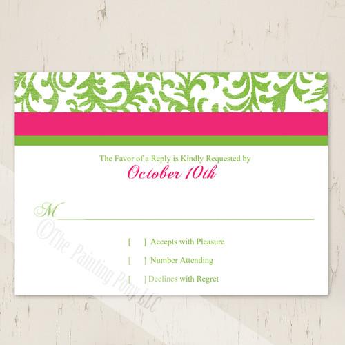 Pink and green wedding response card