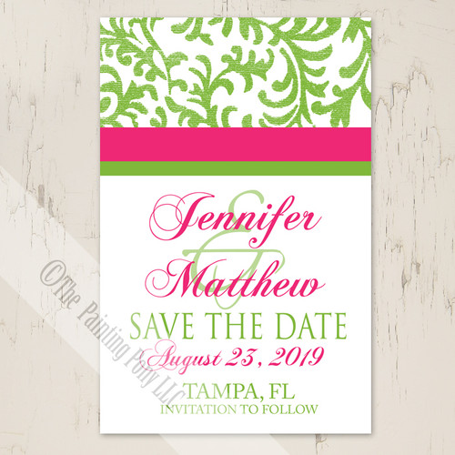 Pink and green spring wedding save the date postcard