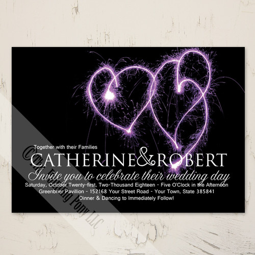 Purple Heart Sparklers Wedding Invitations