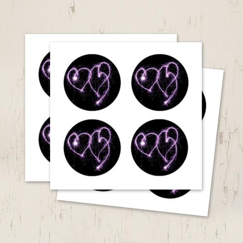 purple hearts wedding stickers